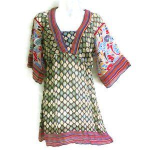 Angie Tunic Dress Mixed Stripe Floral Kimono Sleev